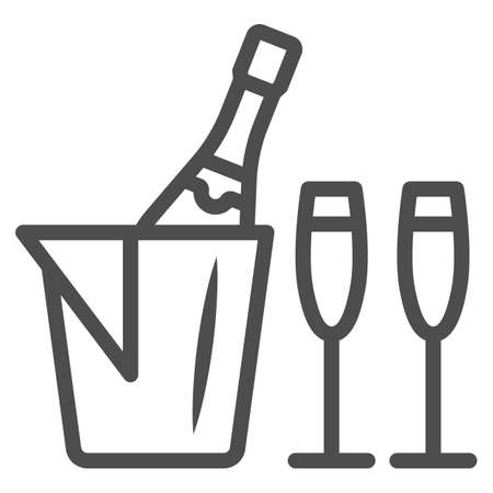 Champagne in ice bucket and two glasses line icon, Wine festival concept, Romantic dinner sign on white background, Ice bucket with wine and glasses icon in outline style. Vector graphics.