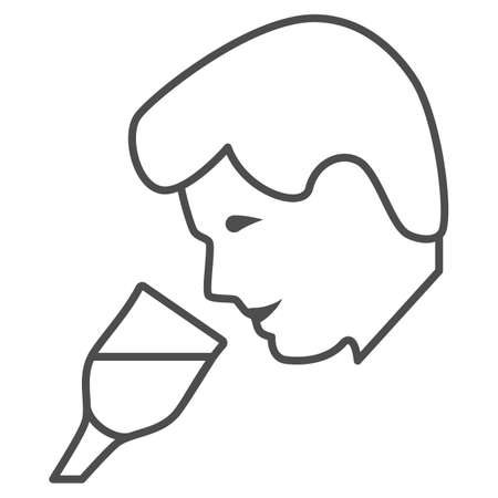 Person taste wine thin line icon, Wine festival concept, man smelling liquid in glass sign on white background, Man drinks wine from glass icon in outline style for mobile. Vector graphics.  イラスト・ベクター素材