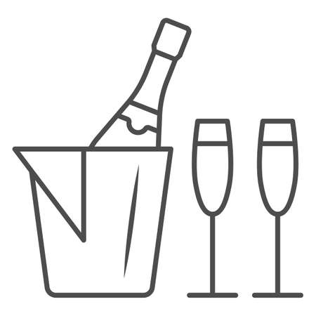 Champagne in ice bucket and two glasses thin line icon, Wine festival concept, Romantic dinner sign on white background, Ice bucket with wine and glasses icon in outline style. Vector graphics. Illusztráció