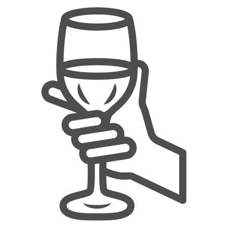 Glass of wine in hand line icon, Wine festival concept, Glass of wine in person palm sign on white background, Hand holding glass with drink icon in outline style. Vector graphics.
