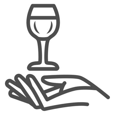 Wineglass in hand line icon, Wine festival concept, Glass of wine over palm sign on white background, Hand holding glass icon in outline style for mobile and web design. Vector graphics.