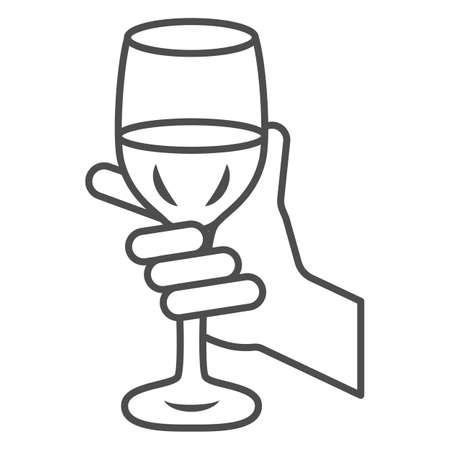 Glass of wine in hand thin line icon, Wine festival concept, Glass of wine in person palm sign on white background, Hand holding glass with drink icon in outline style. Vector graphics.  イラスト・ベクター素材