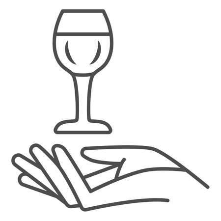 Wineglass in hand thin line icon, Wine festival concept, Glass of wine over palm sign on white background, Hand holding glass icon in outline style for mobile and web design. Vector graphics.  イラスト・ベクター素材