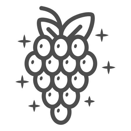 Bunch of grapes line icon, Wine festival concept, Wine Grape sign on white background, Grape with leaves icon in outline style for mobile concept and web design. Vector graphics. Vettoriali