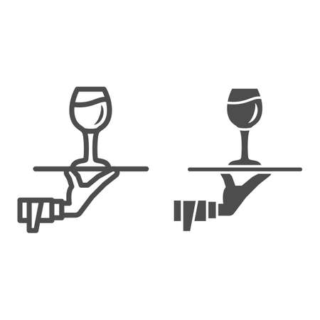 Glass of wine on tray in hand line and solid icon, Wine festival concept, Drinks Service sign on white background, Hand of waiter with wineglass on tray icon in outline style. Vector graphics.