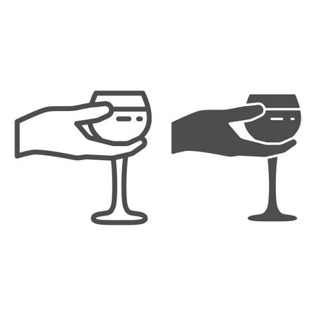 Wineglass in hand line and solid icon, Wine festival concept, Glass of wine in palm sign on white background, Hand holding glass icon in outline style for mobile and web design. Vector graphics.
