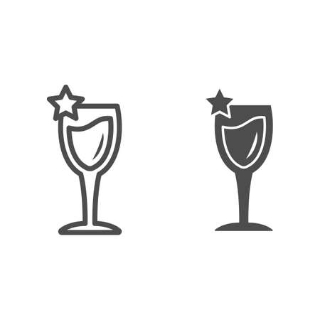 Wine glass with star line and solid icon, Wine festival concept, elegant wineglass sign on white background, Champagne sparkling glass icon in outline style for mobile and web design. Vector graphics.