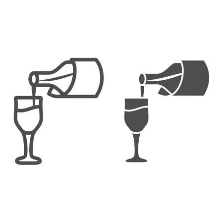 Wine pouring from bottle into glass line and solid icon, Wine festival concept, Bottle and glass sign on white background, tasting wine icon in outline style for mobile, web design. Vector graphics. Ilustrace