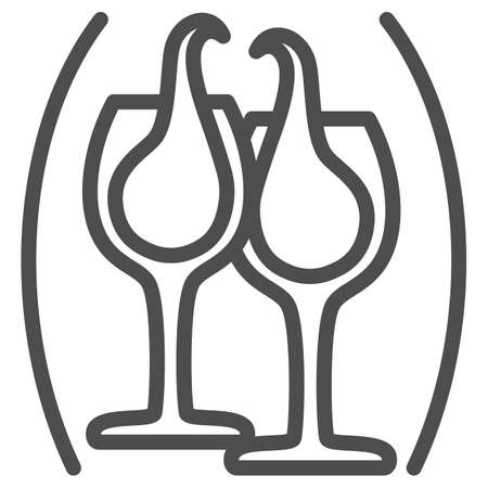 Clinking glasses with wine line icon, Wine festival concept, glasses of champagne sign on white background, Splashing wine icon in outline style for mobile and web design. Vector graphics.