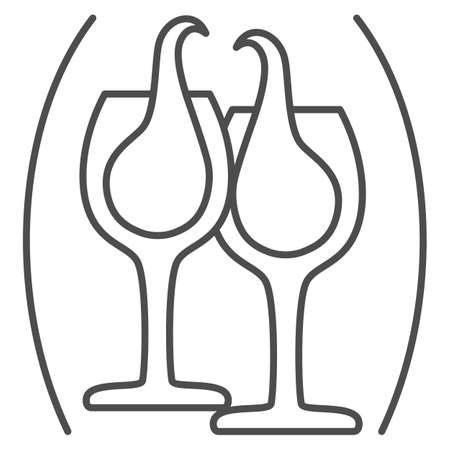 Clinking glasses with wine thin line icon, Wine festival concept, glasses of champagne sign on white background, Splashing wine icon in outline style for mobile and web design. Vector graphics. Vettoriali