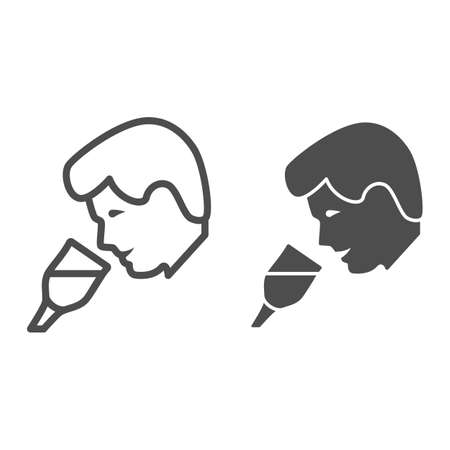 Person taste wine line and solid icon, Wine festival concept, man smelling liquid in glass sign on white background, Man drinks wine from glass icon in outline style for mobile. Vector graphics.