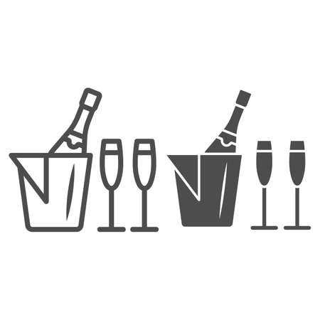 Champagne in ice bucket and two glasses line and solid icon, Wine festival concept, Romantic dinner sign on white background, Ice bucket with wine and glasses icon in outline style. Vector graphics. Ilustrace