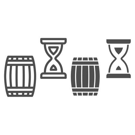 Barrel and hourglass line and solid icon, Wine festival concept, Aging of wine sign on white background, Exposure of wine in barrel icon in outline style for mobile and web design. Vector graphics.