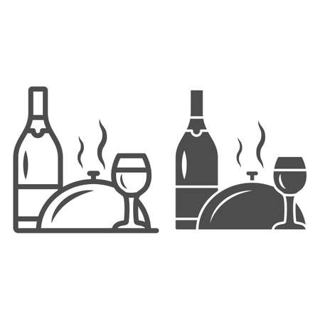 Bottle, wine glass and food on tray line and solid icon, Romantic dinner concept, restaurant dinner service sign on white background, Bottle of wine and tray with lid icon in outline. Vector graphics. Ilustrace