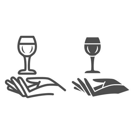 Wineglass in hand line and solid icon, Wine festival concept, Glass of wine over palm sign on white background, Hand holding glass icon in outline style for mobile and web design. Vector graphics.