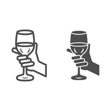 Glass of wine in hand line and solid icon, Wine festival concept, Glass of wine in person palm sign on white background, Hand holding glass with drink icon in outline style. Vector graphics.  イラスト・ベクター素材