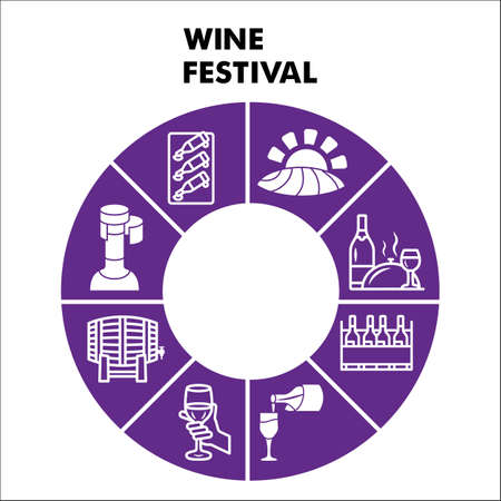 Modern Wine festival Infographic design template with icons. Wine and grapes Infographic visualization on white background. Creative vector illustration for infographic.