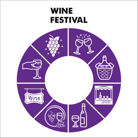 Modern Wine festival Infographic design template with icons. Grape cultivation and sale Infographic visualization on white background. Creative vector illustration for infographic.