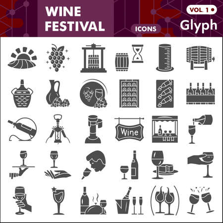 Wine festival solid icon set, Grape cultivation and sale symbols collection or sketches. Winery glyph style signs for web and app. Vector graphics isolated on white background.