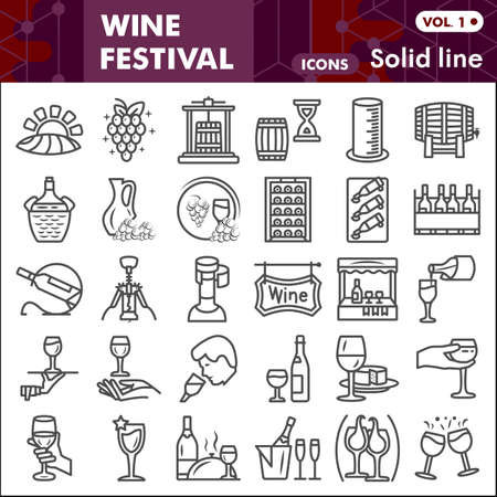 Wine festival line icon set, Grape cultivation and sale symbols collection or sketches. Winery linear style signs for web and app. Vector graphics isolated on white background.