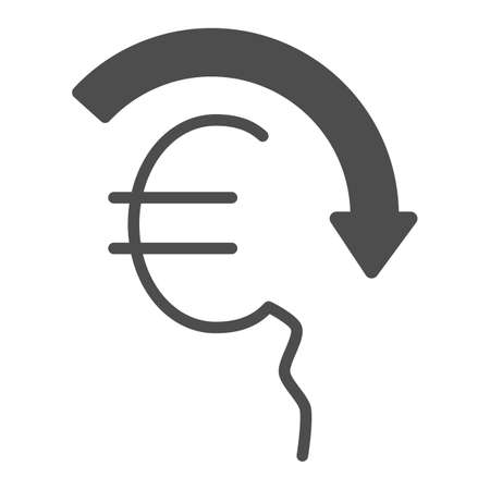 Euro rate fall solid icon, economic sanctions concept, Euro depreciation sign on white background, currency with decreasing arrow icon in glyph style for mobile and web. Vector graphics.