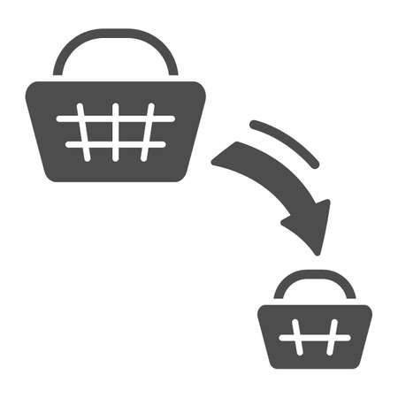 Shopping basket decrease solid icon, economic sanctions concept, decline in purchasing power sign on white background, big and small consumer basket icon in glyph style. Vector graphics.