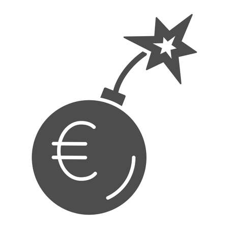 Round bomb with euro currency solid icon, economic sanctions concept, Euro grenade explosion sign on white background, Bursting euro icon in glyph style for mobile and web. Vector graphics.