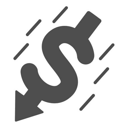 Falling dollar solid icon, financial crisis concept, Dollar collapse sign on white background, currency symbol and arrow down icon in glyph style for mobile and web design. Vector graphics.