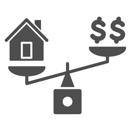 Dollar and house balance solid icon, finance concept, money and property on scales sign on white background, weighing or compare home and money icon in glyph style. Vector graphics. 向量圖像