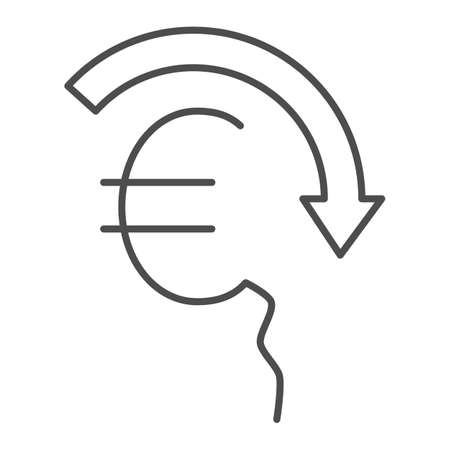 Euro rate fall thin line icon, economic sanctions concept, Euro depreciation sign on white background, currency with decreasing arrow icon in outline style for mobile and web. Vector graphics.