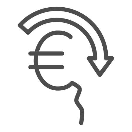 Euro rate fall line icon, economic sanctions concept, Euro depreciation sign on white background, currency with decreasing arrow icon in outline style for mobile and web. Vector graphics. 向量圖像