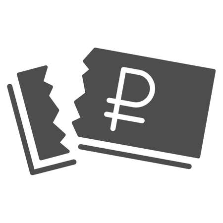 Ruble is torn solid icon, economic sanctions concept, Russian ruble banknote sign on white background, Ripped money icon in glyph style for mobile concept and web design. Vector graphics.