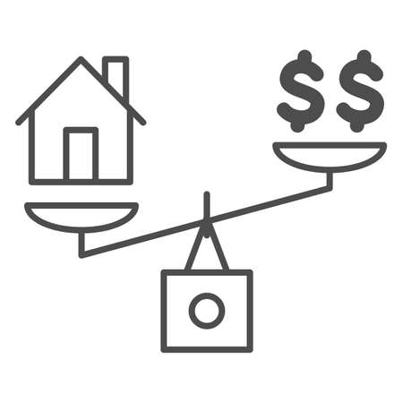Dollar and house balance thin line icon, finance concept, money and property on scales sign on white background, weighing or compare home and money icon in outline style. Vector graphics. 向量圖像