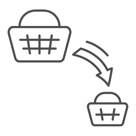 Shopping basket decrease thin line icon, economic sanctions concept, decline in purchasing power sign on white background, big and small consumer basket icon in outline style. Vector graphics. 向量圖像