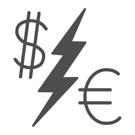 Dollar vs Euro solid icon, economic sanctions concept, Currency Symbols with lightning sign on white background, euro and dollar icon in glyph style for mobile and web. Vector graphics.