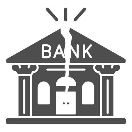 Bank is cracked solid icon, economic sanctions concept, Broken bank building sign on white background, Bank bankruptcy icon in glyph style for mobile concept, web design. Vector graphics. 向量圖像