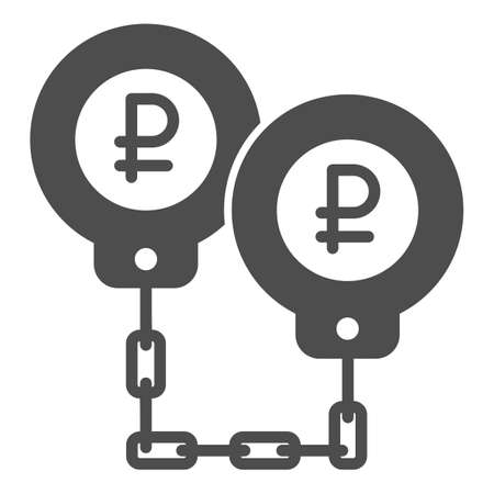 Ruble in handcuffs solid icon, economic sanctions concept, Rubles are shackled sign on white background, russian rouble under sanctions icon in glyph style for mobile, web. Vector graphics.