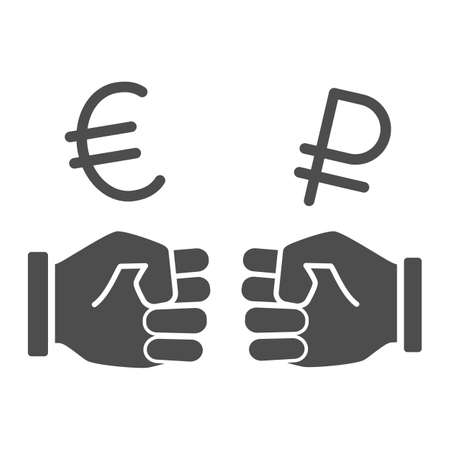 Two fists and currency solid icon, economic sanctions concept, Struggle between euro and ruble sign on white background, euro and ruble currency exchange icon glyph style. Vector graphics. 向量圖像