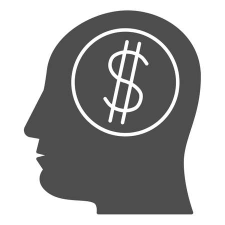 Dollar in human mind solid icon, finance concept, Thinking about money sign on white background, Business man head with dollar icon in glyph style for mobile, web design. Vector graphics.