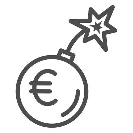 Round bomb with euro currency line icon, economic sanctions concept, Euro grenade explosion sign on white background, Bursting euro icon in outline style for mobile and web. Vector graphics. 向量圖像