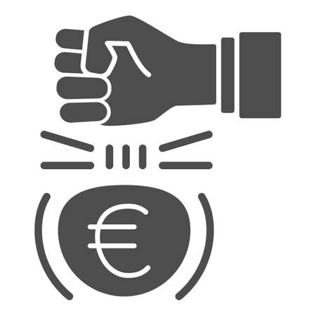 Fist and euro currency solid icon, economic sanctions concept, Hit euro with arm sign on white background, european currency under kick icon glyph style for mobile and web. Vector graphics. 向量圖像