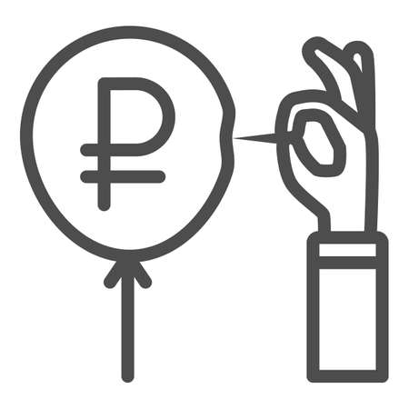 Hand with needle and ruble balloon line icon, economic sanctions concept, ruble currency symbol pierced with needle white background, Russian rouble crisis danger icon outline style. Vector. 向量圖像