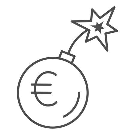 Round bomb with euro currency thin line icon, economic sanctions concept, Euro grenade explosion sign on white background, Bursting euro icon in outline style for mobile and web. Vector graphics.