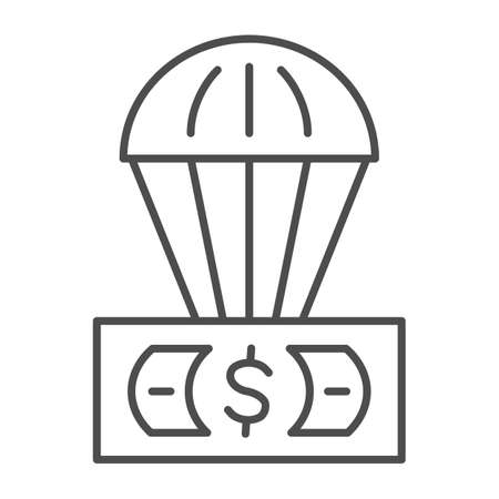 Dollar and air balloon thin line icon, Finance concept, unsecured currency in air sign on white background, Hot air balloon with US dollar banknote icon in outline style. Vector graphics. 向量圖像