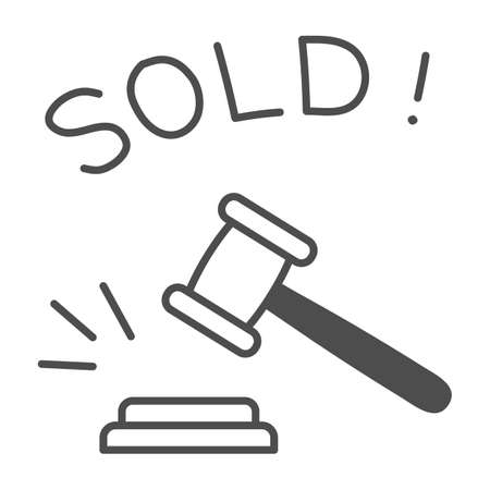 Auction hammer with sold text thin line icon, finance concept, hitting wooden gavel in auction sign on white background, hammer and word sold icon in outline style. Vector graphics.