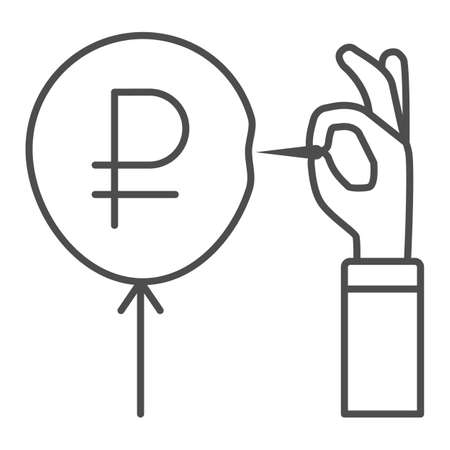 Hand with needle and ruble balloon thin line icon, economic sanctions concept, ruble currency symbol pierced with needle white background, Russian rouble crisis danger icon outline style. Vector.