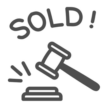 Auction hammer with sold text line icon, finance concept, hitting wooden gavel in auction sign on white background, hammer and word sold icon in outline style. Vector graphics.