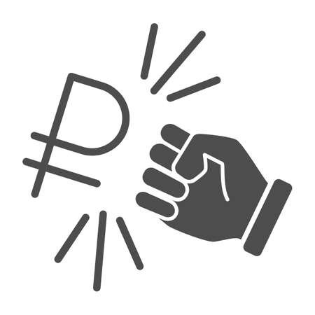 Fist and ruble currency solid icon, economic sanctions concept, Hit ruble with arm sign on white background, russian currency sanctions icon glyph style for mobile and web. Vector graphics.
