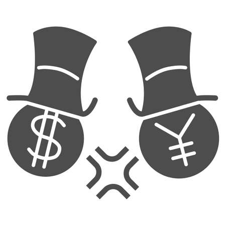 Dollar and yen conflict solid icon, economic sanctions concept, competition currency in hats sign on white background, symbol of yen and dollar fighting icon glyph style. Vector graphics. 向量圖像