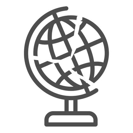Global economy is bursting line icon, economic sanctions concept, globe with crack sign on white background, financial global crisis icon in outline style for mobile. Vector graphics. Illusztráció